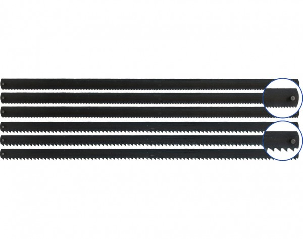 12 - Stift Sägeblätter 148 mm, (3x für Holz / 3x für Metall)
