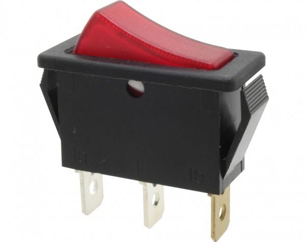 KWS211 - Ausschalter, 1-polig, schwarz, rot beleuchtet, ON-OFF