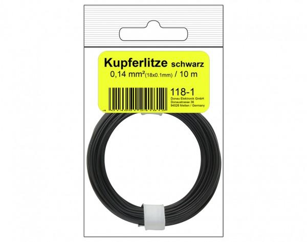118-1SB - Kupferschalt Litze 0,14 mm² / 10 m / schwarz in SB Beutel