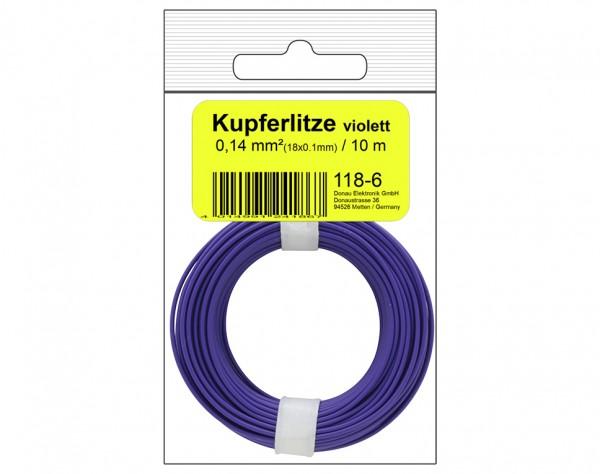 118-6SB - Kupferschalt Litze 0,14 mm² / 10 m / violett in SB Beutel