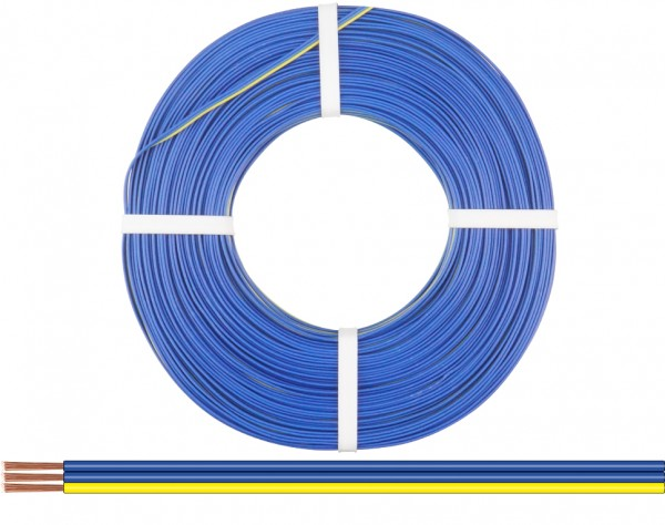 318-223-50 - Drillingslitze 0,14 mm² / 50 m blau-blau-gelb