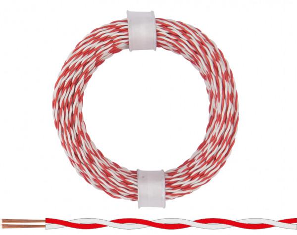 210-05 - Zwillingslitze 0,04 mm² / 10 m rot-weiß