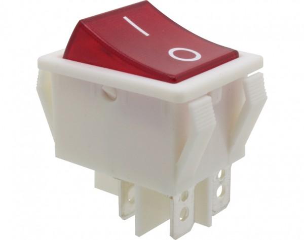 KWS250 - Ausschalter, 2-polig, weiß, rot beleuchtet, ON-OFF