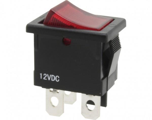 KWS130 - Ausschalter, 1-polig, schwarz, rot beleuchtet, ON-OFF