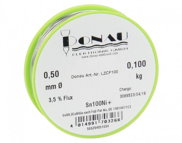 "LZCF100 - Lötzinn ""CLEAR"" Ø0,5 mm Sn100Ni+ Spule 100g"