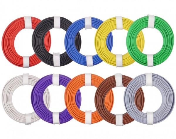 125-MIX - Kupferlitzen-Set (0,25 mm²) 10 x 10 m - 10 farbig