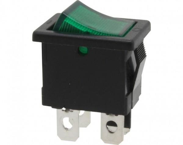 KWS44 - Ausschalter, 2-polig, schwarz, grün beleuchted, ON-OFF