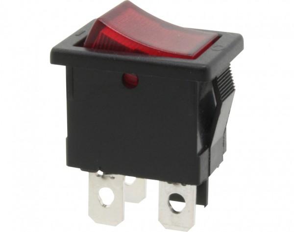 KWS30 - Ausschalter, 1-polig, schwarz, rot beleuchtet, ON-OFF
