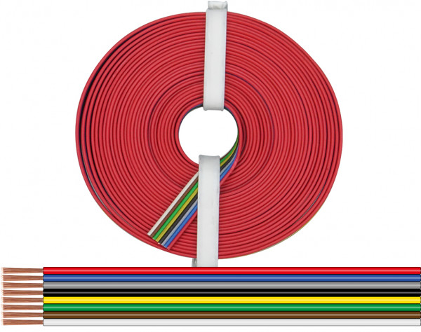 119-885 - Litze 8 x 0,14 mm² / 5 m rot-blau-grau-schwarz-gelb-grün-braun-weiß