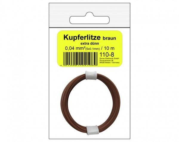 110-8SB - Kupferschalt Litze 0,04 mm² / 10 m braun - in SB Beutel