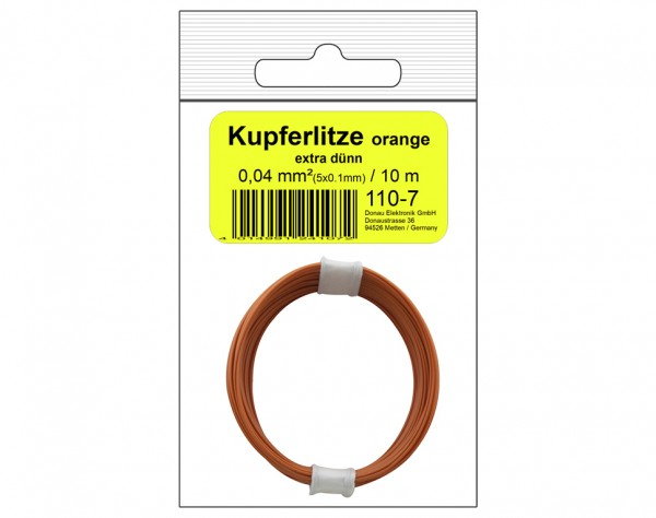 110-7SB - Kupferschalt Litze 0,04 mm² / 10 m orange - in SB Beutel