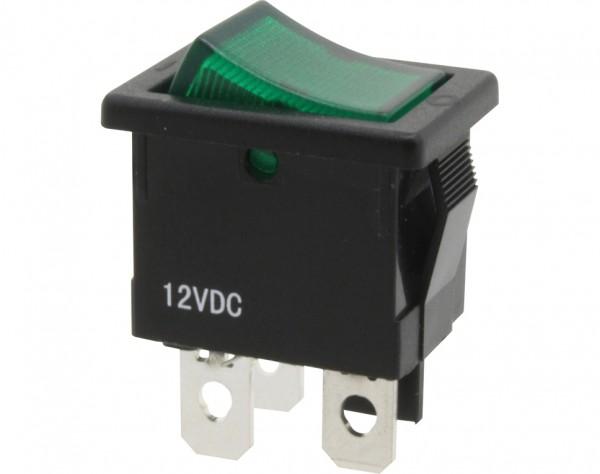KWS134 - Ausschalter, 1-polig, schwarz, grün beleuchtet, ON-OFF