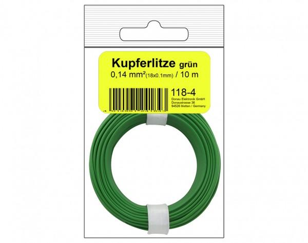 118-4SB - Kupferschalt Litze 0,14 mm² / 10 m / grün in SB Beutel