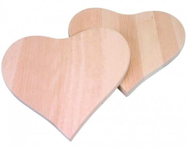 M325 - 2 Stück Frühstücksbrettchen Herz, 195 x 195 x 12 mm