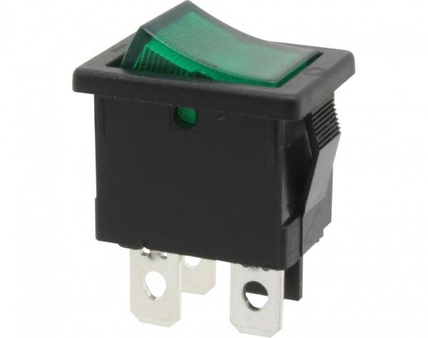 KWS34 - Ausschalter, 1-polig, schwarz, grün beleuchtet, ON-OFF