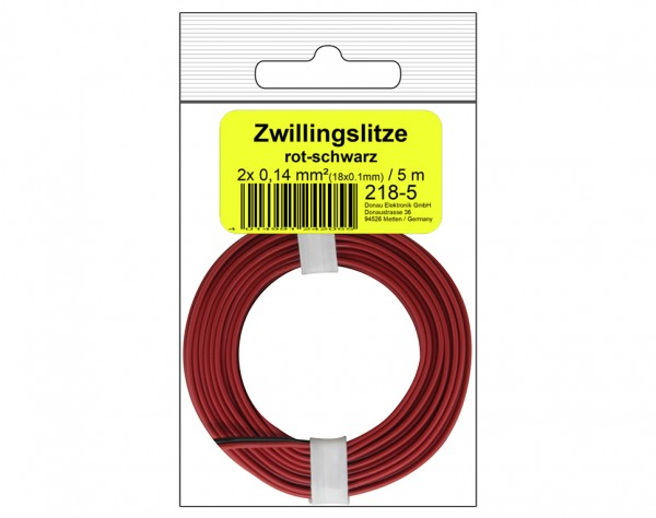 218-5SB - Zwillingslitze 0,14 mm² / 5 m rot-schwarz in SB