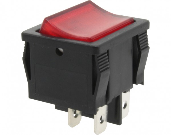 KWS70 - Ausschalter, 2-polig, schwarz, rot beleuchted, ON-OFF