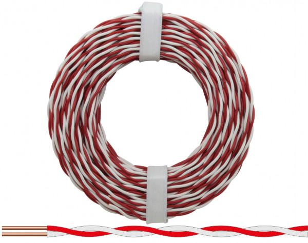 205-10 - Kupferschalt Draht 0,5 mm / 10m rot-weiss