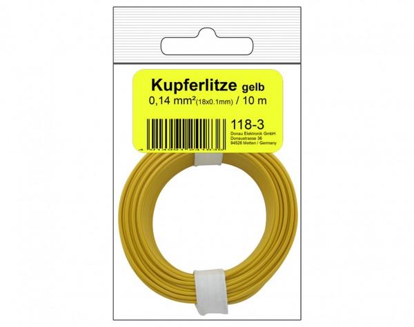 118-3SB - Kupferschalt Litze 0,14 mm² / 10 m / gelb in SB Beutel