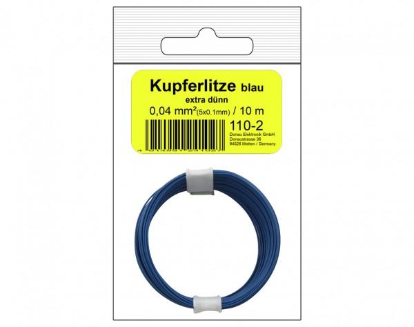 110-2SB - Kupferschalt Litze 0,04 mm² / 10 m blau - in SB Beutel