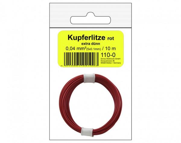 110-0SB - Kupferschalt Litze 0,04 mm² / 10 m rot - in SB Beutel