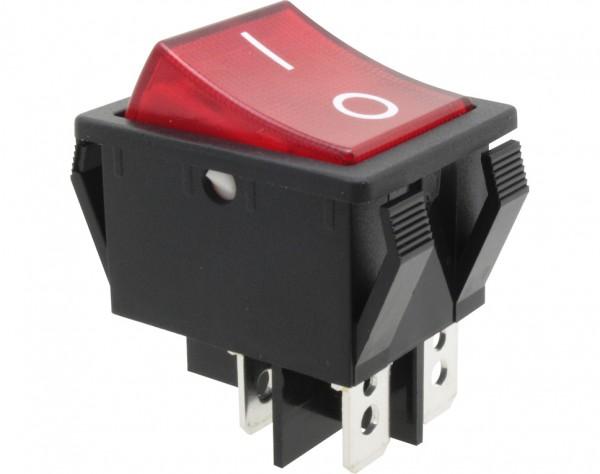 KWS251 - Ausschalter, 2-polig, schwarz, rot beleuchtet, ON-OFF