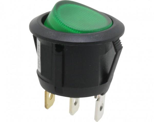 KWS334 - Ausschalter, 1-polig, schwarz, rund, grün beleuchtet, ON-OFF