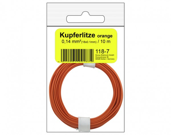 118-7SB - Kupferschalt Litze 0,14 mm² / 10 m / orange in SB Beutel
