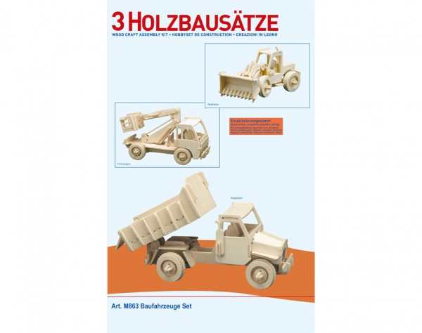M863 - Holzbausatz 3 x Baufahrzeuge