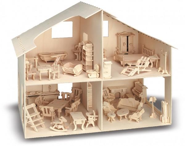M880 - Holzbausatz Puppenhaus mit Möbel
