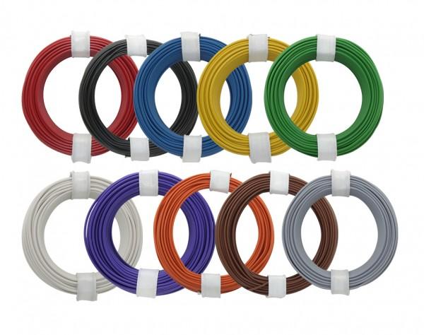 105-MIX - Kupferschaltdraht-Set (Ø 0,5 mm) 10 x 10 m - 10 farbig
