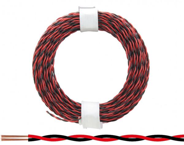 210-10 - Zwillingslitze 0,04 mm² / 10 m rot-schwarz