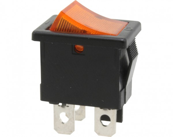 KWS33 - Ausschalter, 1-polig, schwarz, gelb beleuchtet, ON-OFF