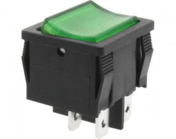 KWS74 - Ausschalter, 2-polig, schwarz, grün beleuchted, ON-OFF