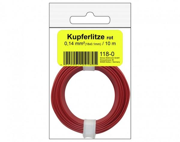 118-0SB - Kupferschalt Litze 0,14 mm² / 10 m / rot in SB Beutel