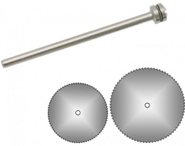 1640 - 2 Kreissägeblätter Ø 12 + 19 mm + Dorn